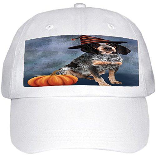 Happy Halloween Bluetick Coonhound Dog Wearing Witch Hat with Pumpkin Ball Hat Cap (Halloween Hound Pumpkin)