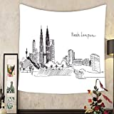 Carolyn J. Morin Custom tapestry illustration sketch landmarks malaysia the main building and the twin towers