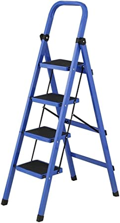Taburete Escalera Taburete de Paso Elevación barandilla de Acero Plegable Escalera Plegable 150 kg Seguridad Mat hogar Escaleras Que soportan el Peso (Color : Blue): Amazon.es: Hogar
