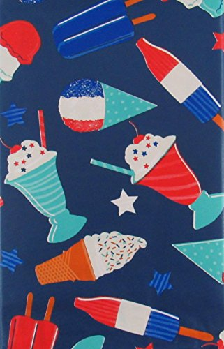 Patriotic Treats - Popsicles, Ice Cream and Snow Cones Vinyl Flannel Back Tablecloth (52