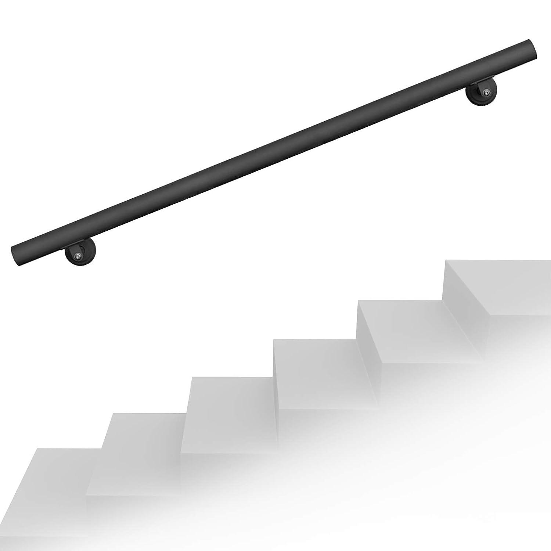 Handlaufset Wandhalter 90cm Schwarz Handlauf Haltegriff Treppe Edelstahl
