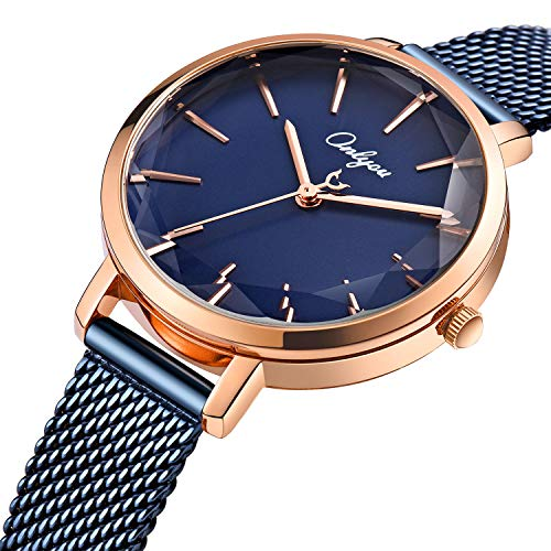 ONLYOU Women's Fashion Watches,Unique Face Design and 30M Waterproof,Analog Quartz Wristwatches with Stainless Steel Mesh Band (Blue) by onlyou (Image #2)'