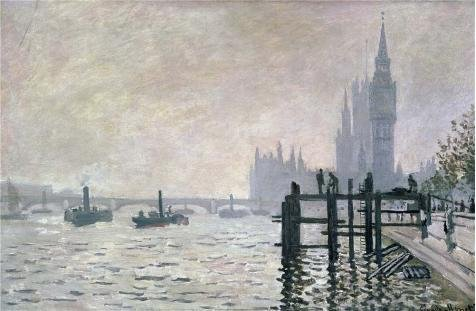 High Quality Polyster Canvas ,the Best Price Art Decorative Canvas Prints Of Oil Painting 'The Thames Below Westminster, 1871 By Claude Monet', 24x37 Inch / 61x93 Cm Is Best For Powder Room Gallery Art And Home Artwork And