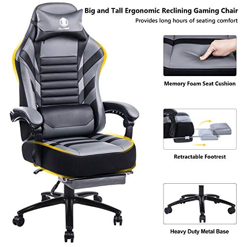 KILLABEE Big & Tall 400lb Memory Foam Reclining Gaming Chair Metal Base – Adjustable Back Angle and Retractable Footrest Ergonomic High-Back Leather Racing Executive Computer Desk Office Chair, Gray