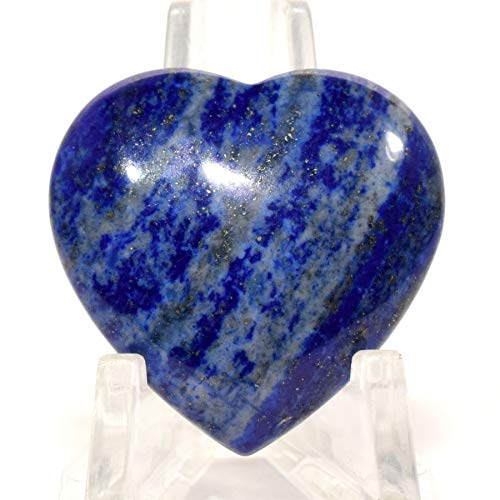 - 30mm Rich Blue Lapis Lazuli w/Pyrite Puffy Heart Polished Natural Sparkling Gemstone Crystal Mineral Specimen - Afghanistan (1PC)