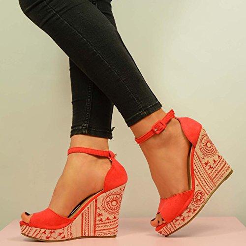 Cucu Fashion - plataforma mujer Rojo - rojo