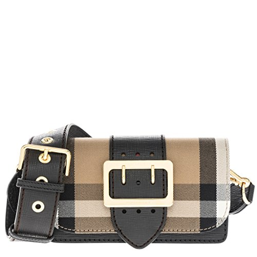 Burberry Women's The Small Buckle Bag In Check and Leather - Burberry Bag Buckle
