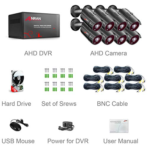 ANRAN 8CH Home Security Camera System 5MP HD TVI AHD DVR Video Recorder with 1TB Hard Drive 8pcs 1920TVL Outdoor Indoor CCTV Surveillance Bullet Cameras IR Night Vision Easy Remote Access Motion Alert