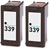 Remanufactured 339 ( C8767ee ) Black Ink Cartridges x 2 ( Twin Pack ) for HP Printers