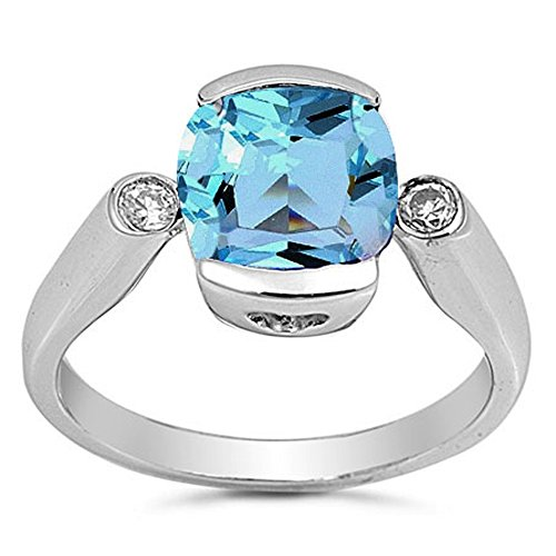 - .925 Sterling Silver Cushion Cut Simulated Aquamarine & Cz Ring Size 7