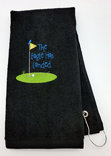 Mana Trading Custom Personalized Embroidered Golf Towel The Eagle HAS Landed (Black)