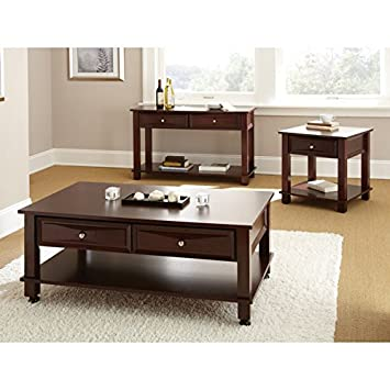 Amazoncom Mason Cocktail Table w Casters 2 Drawers in Dark