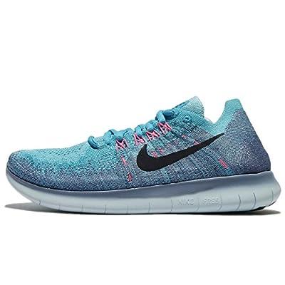 NIKE Women's Free RN Flyknit Running Shoe (5.5 B(M) US, Work Blue/Dark Obsidian-Chlorine Blue)