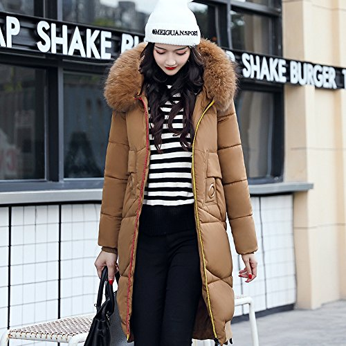 Long Coffee sleeve Thickened Down Color DYF Color M Coat Pocket Hat Jacket Zipper Solid 8xq6P