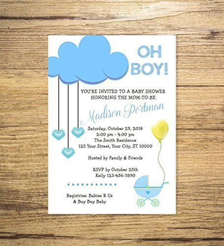 Amazon Com Blue Cloud Baby Shower Invitation Blue Baby Stroller