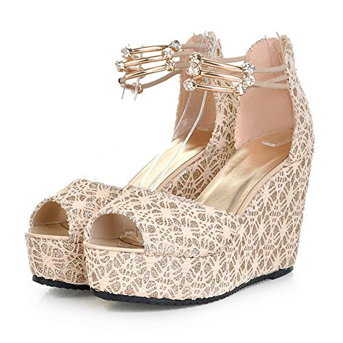 Chaussures Elegant Toe Perle Sandales Peep Beige Sangle Compensees Femme de Talons Cheville RAZAMAZA UC5wPxqaa