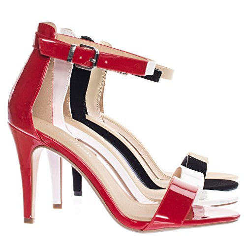 City Classified Single Band Dress Heel Sandal With Ankle Strap, Classic Open Toe Pump Red Patent