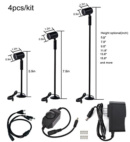 - Xking 4pcs/kit Pole Type Dimmable Display Lights Black Finish DC12V with Rotary Dimmer (Warm White(3000K), Base B.5.9