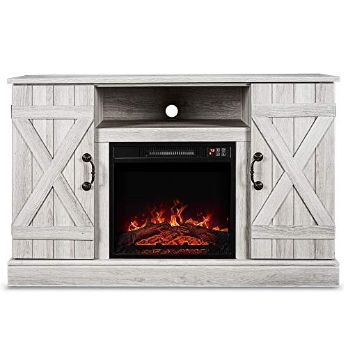 """BELLEZE 46"""" Rustic Wood TV Stand Fireplace Heater for TV's Up to 50"""" Living Room Storage - with Remote Control, Sargent Oak"""