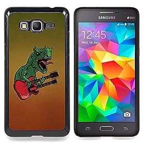 "Qstar Arte & diseño plástico duro Fundas Cover Cubre Hard Case Cover para Samsung Galaxy Grand Prime G530H / DS (Roca dinosaurio Música Guitarra Arte del monstruo"")"