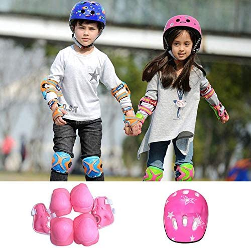 Rodalind 7PCS//Set Universal Children Kids Protective Gear Set Comfortable Scooter Skate Roller Cycling Knee Pads Elbow Pads Set