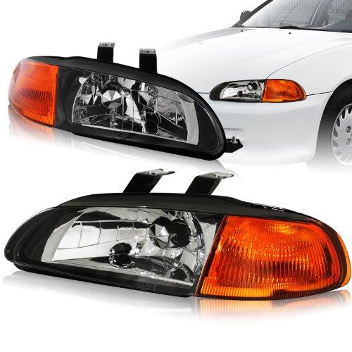 Euro Headlights 1 Piece (1992 - 1995 Honda Civic Black Housing 2-in-1 Piece headlights+Amber Corner Lights Lamps)