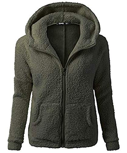 (Dressin Women's Hoodie Winter Solid Warm Plus Size Cotton Zipper Coat Tops Blouse Sweatshirt)