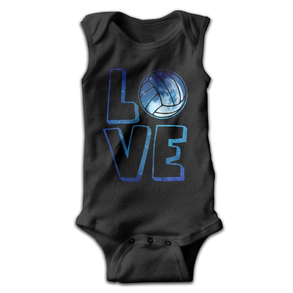 Love Volleyball1 Baby Newborn Crawling Clothes Sleeveless Romper Bodysuit Rompers Jumpsuit Black