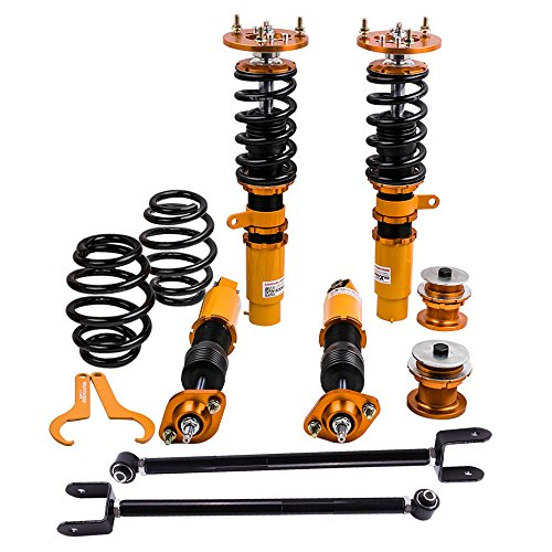 Coilovers with Adjustable Damper and Rear Lower Camber Control Arms for BMW 3 Series E46 316i, 316ci, 318i, 318ci, 320i, 320ci, 323i, 323ci, 325i, 325ci, 328i, 328ci, 330i, 330ci, M3 - Gold ()