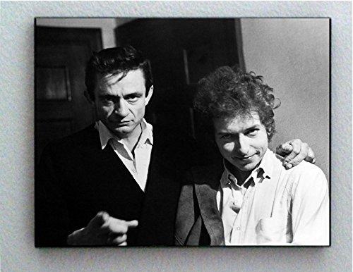 (Rare Framed Johnny Cash with Bob Dylan Photo. Jumbo Giclée)