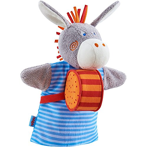 Donkey Puppet (HABA Donkey Musical Glove Puppet with Rattling Drum)