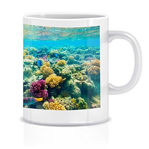 Tropical Coral Reef Red Sea Coffee Tea White Ceramic Mug Cup 11oz - Red Sea Reef Base