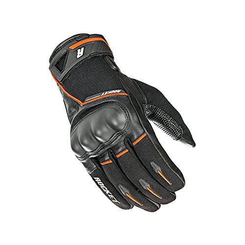 Joe Rocket Supermoto Mens On-Road Motorcycle Leather Gloves - Black/Orange/Large