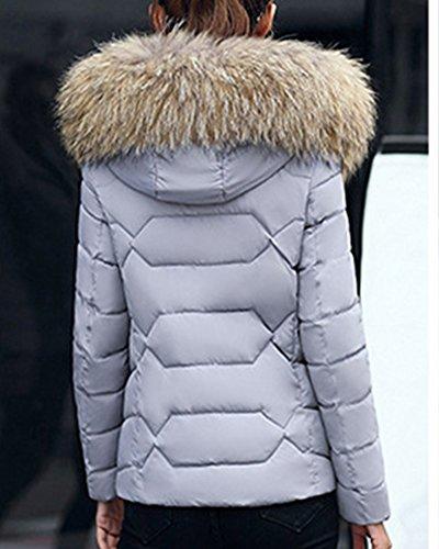 Donna Con Giacca Grigio Giacche Cappuccio Parka Cappotto Outwear Invernale Abbottonato 55q6r