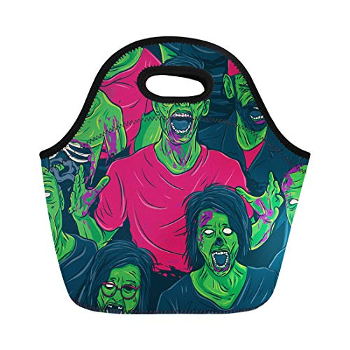 Semtomn Lunch Tote Bag Colorful Angry Zombie Walking Out Blood Brain Cannibal Cartoon Reusable Neoprene Insulated Thermal Outdoor Picnic Lunchbox for Men Women -