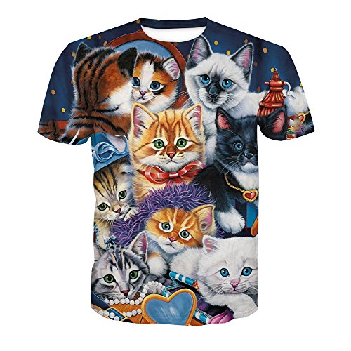 5 Style Acvip Animal large Rond Manches Col Homme T shirt Courtes Imprimé X 17wqP1B