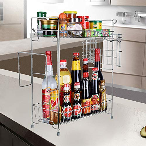 Price comparison product image MaxFox Large 2 Storey Thick Storage Rack Bathroom Countertop Shelf, Home Kitchen Seasoning Jar Condiment Bottle Organizer Free Standing Floor and Desktop Rack with Hook (Silver)