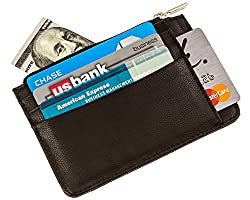 Slim RFID Blocking Leather Credit Card Wallet Provides Identity Theft Protection for 8 Cards in an Ultra-Slim Design with Zipper Compartment for Cash