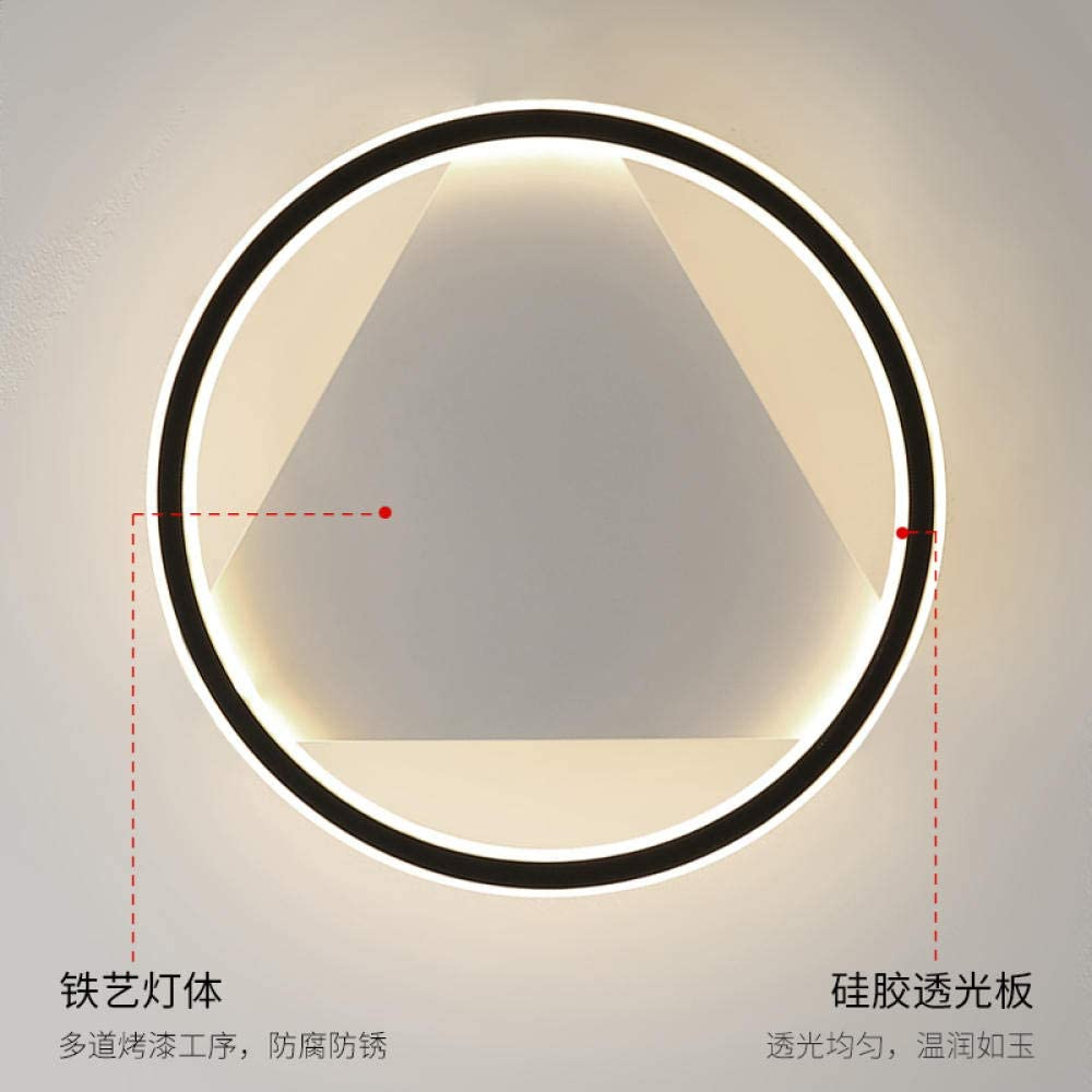 WEPAINTING Lamp Bedroom net red New Creative LED Round Ceiling lamp Nordic Simple Modern sub-Bedroom Lamps-Black Section+40 * 5CM+48W+Warm Light A157