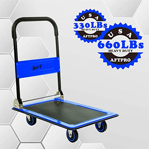 - Push Cart Dolly AFT PRO USA Push Platform Truck Folding Rolling Flatbed Cart 360 Degree Swivel Wheels Foldable Handle (Blue, 660LB)