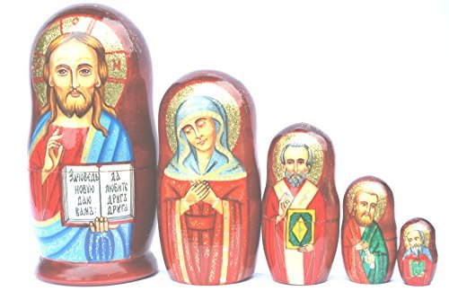 Authentic Russian Hand Painted Handmade Religious Jesus Nesting Doll of 5 Pcs Matryoshkas 5'' Church Icons