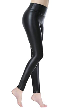 a51223ed886 DCOIKO Womens Faux Leather High Waisted Stretchy Synthetic Pants PU Sexy  Skinny Leggings (S