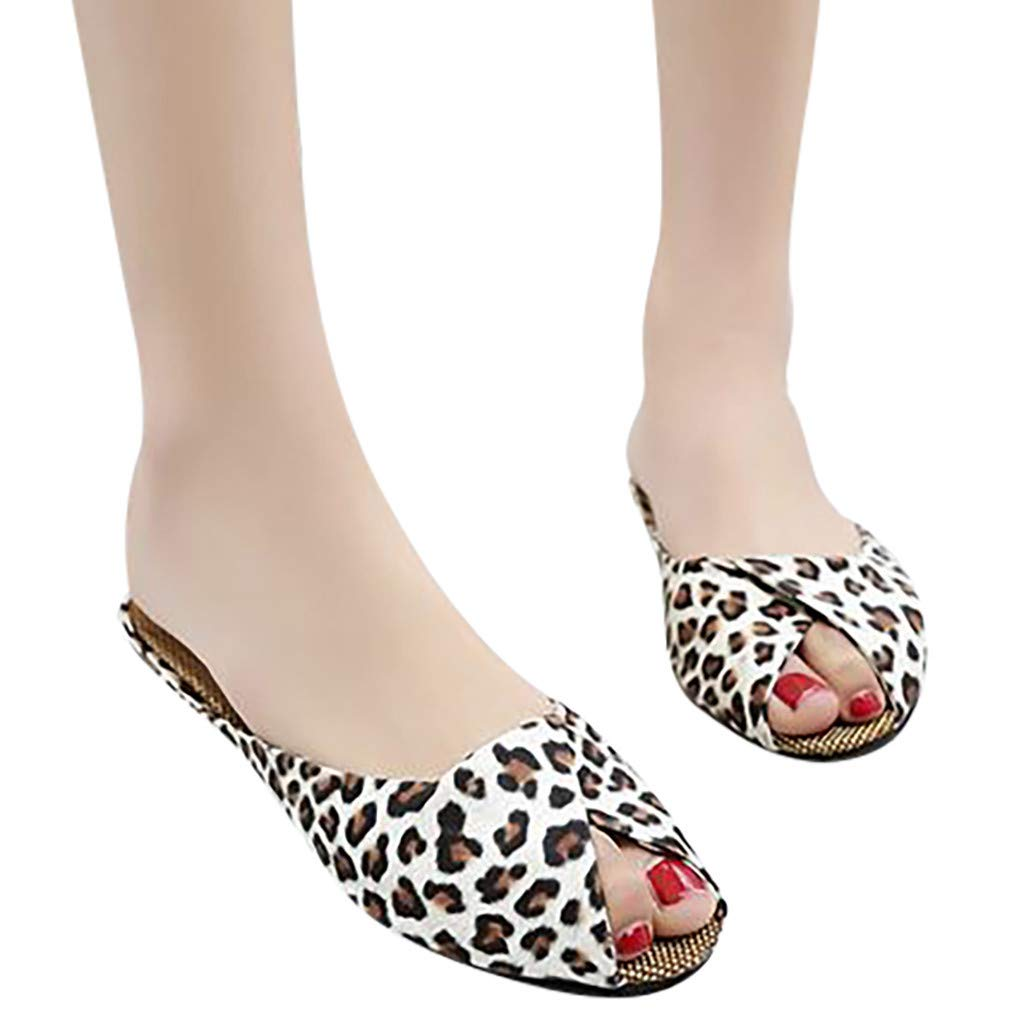 Midress Women Sandals Women's Fashion Casual Fish Mouth Low Heels Leopard Square Heel Shoes Sandals