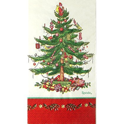 - spxr16g Red Border 16 Ct Spode Christmas Tree Paper Dinner Napkins / Guest Towels