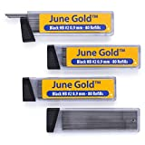#8: June Gold 320 Lead Refills, 0.9 mm HB #2, Bold Thickness, Break Resistant Lead (Graphite) with Convenient Dispensers