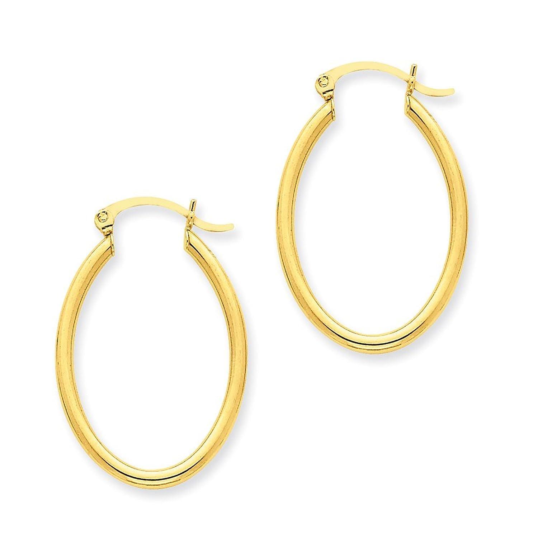 14k Yellow Gold Oval Polished Hoop Earring TA257