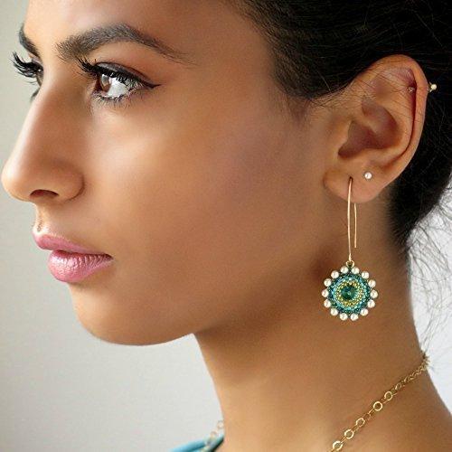 (Handmade Long Turquoise Swarovski Crystal Gold filled Beaded Dangle Earrings)