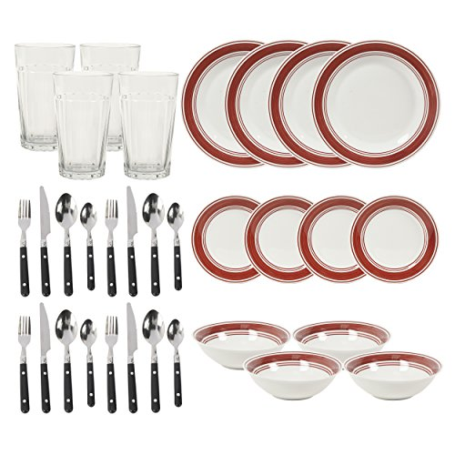 Gibson Home 32 Piece Basic Living Dinnerware Combo Set, Bric