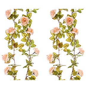 Felice Arts 2 Pack 11 Heads 7.2 Ft/pc Artificial Silk Fake Flowers Autumn Rose Vine Realistic Hanging Silk Rose Plants Wedding Home Party Arch Decor 105
