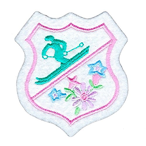 Ski Winter Snow Flowers Shield Badge Iron on Patch Decoration Embroidered Applique for DIY Jeans Jacket Clothing Handbag Shoes Caps and Any Crafts Project ()